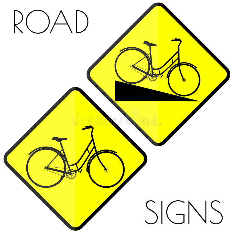 Bicycle yellow road signs royalty free illustration
