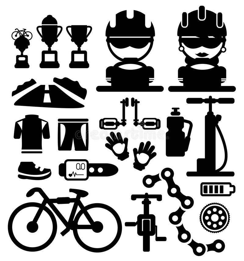 Bicycles ícones ilustração stock