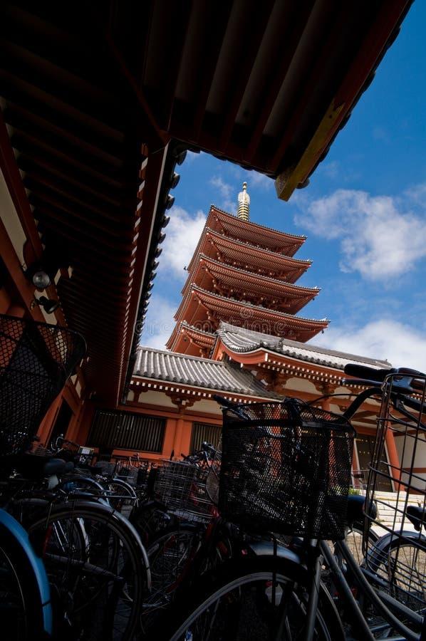 Bicycles at Asakusa Temple in Tokyo royalty free stock photos