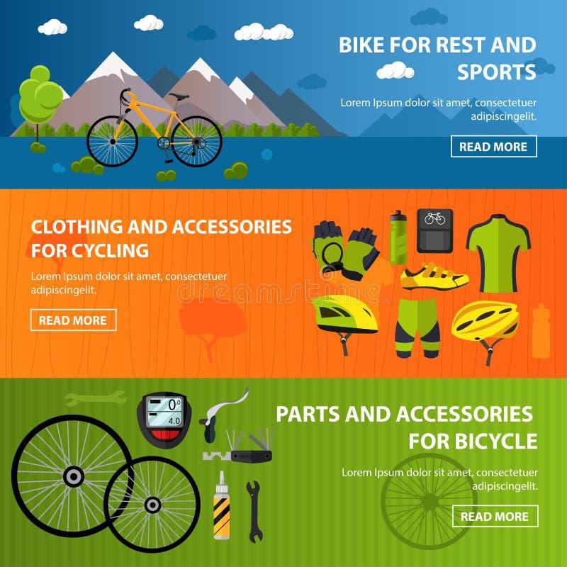 Bicycles bandeiras dos acessórios Ilustração do conceito do vetor do esporte no estilo liso Roupa e equipamento, bicicleta, capac ilustração do vetor