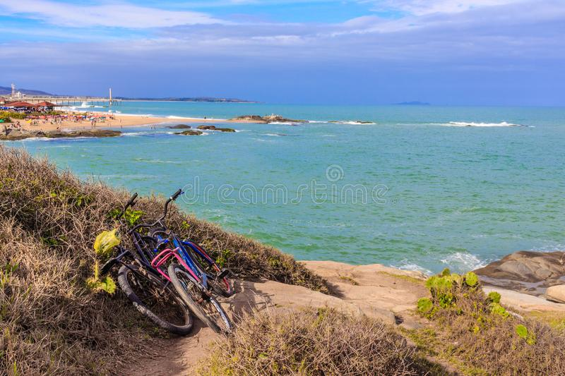 Bicycles in a beach royalty free stock image