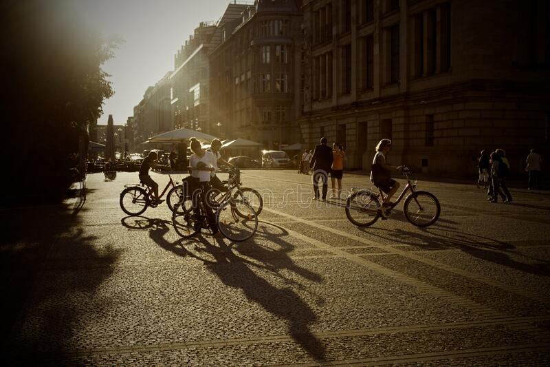 Bicycles on city streets royalty free stock images