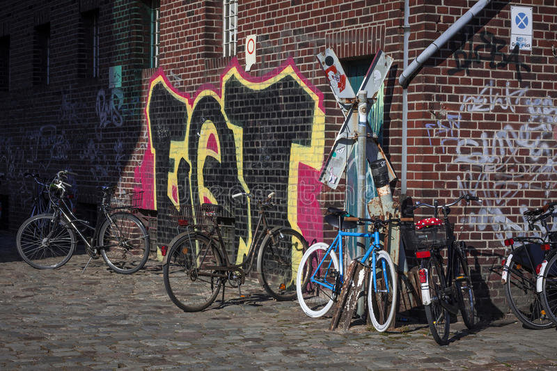 Download Bicycles and graffiti stock image. Image of wall, colours - 30530367
