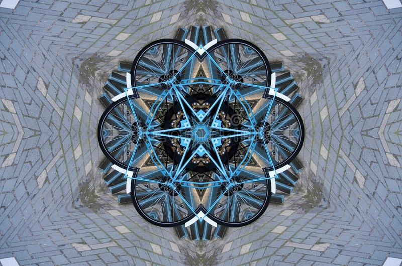 Bicycles through kaleidoscope. Bicycles in parking area in netherlands seen through a kaleidoscope royalty free illustration