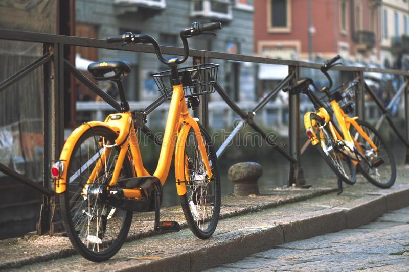 Bicycles in Milan Italy are available for the public transport t stock image