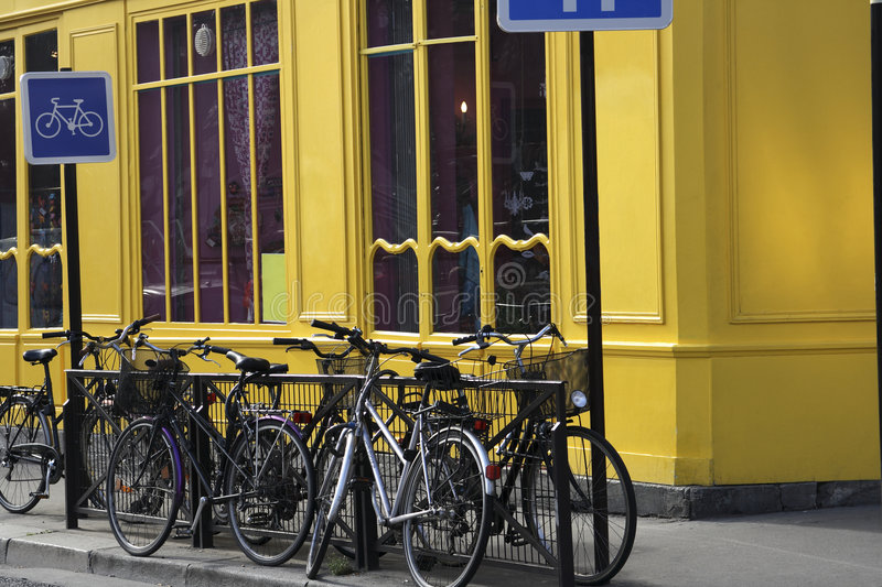 Bicycles in paris near the Canal St Martin royalty free stock photos