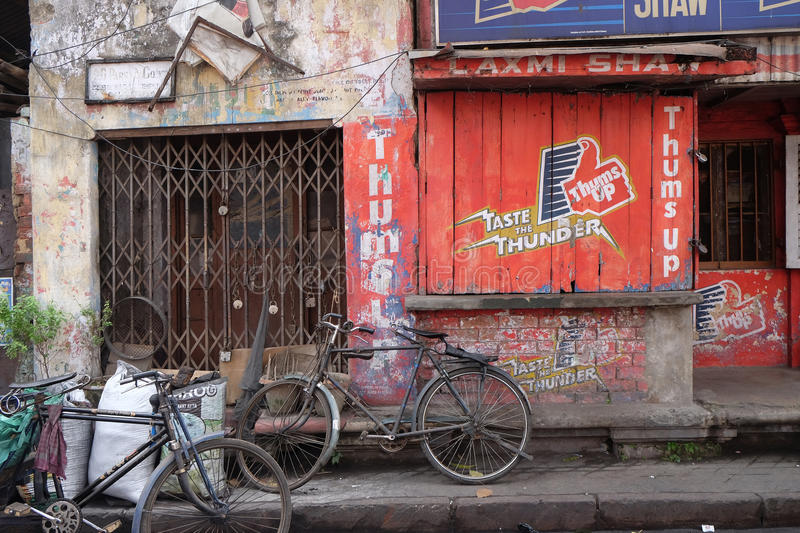 Bicycles parked in an alleyway near Jain Temple in Kolkata royalty free stock image