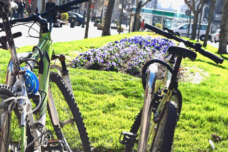 Bicycles parked in the center of the city. Background illustrations stock image