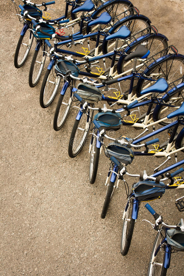Bicycles Parked In A Row Royalty Free Stock Images