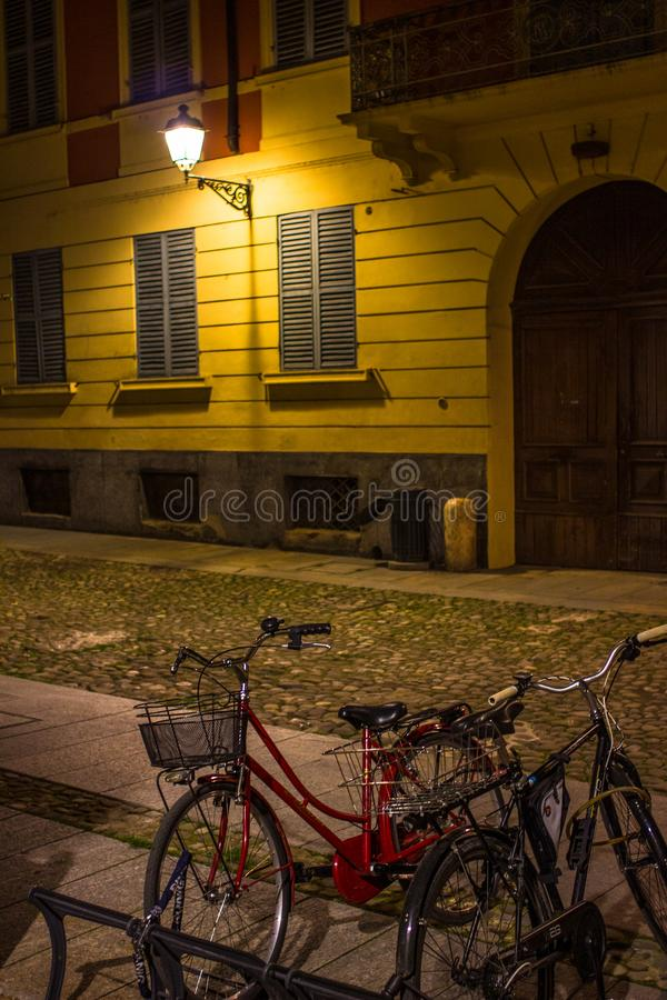 Bicycles parked in the square stock photos