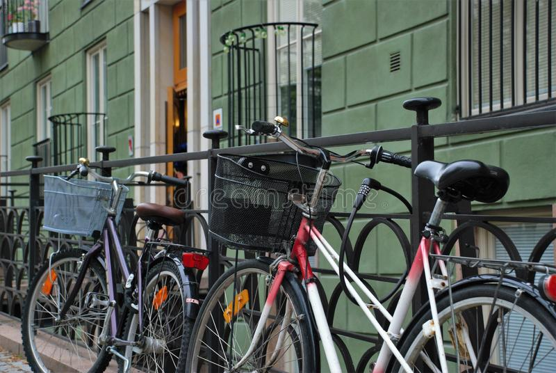Bicycles parked on the street royalty free stock image