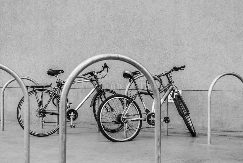 Bicycles on the parking lot stock image