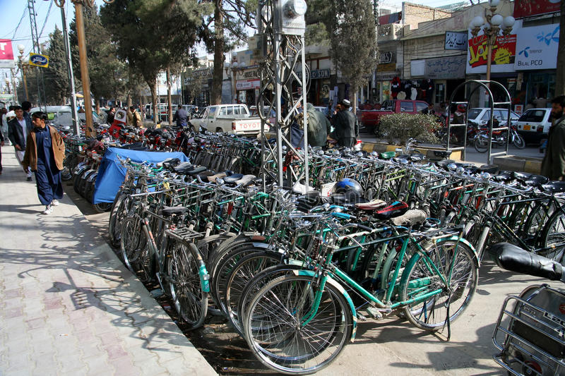 Bicycles of Quetta. Parking for bicycles - the most popular form of transport in Quetta in Pakistan stock image