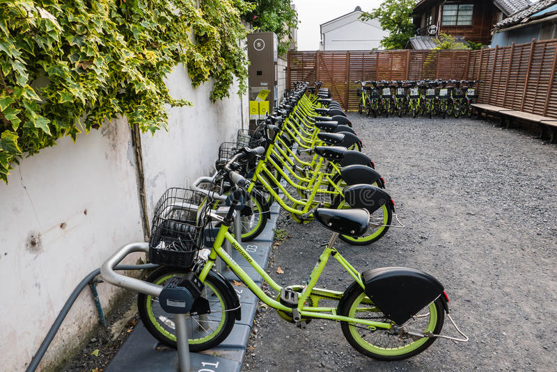 Bicycles for rent at Kawagoe town. royalty free stock photography