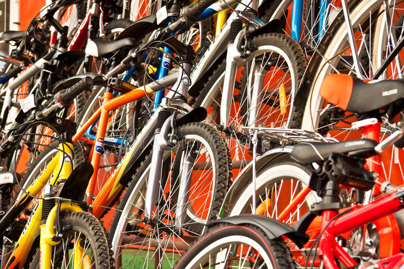 Bicycles for sale. royalty free stock image