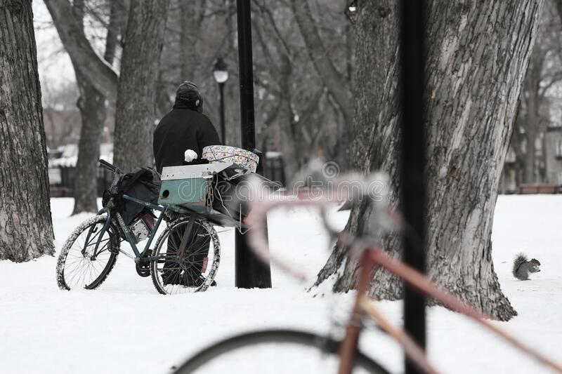 Bicycles In Snow Free Public Domain Cc0 Image