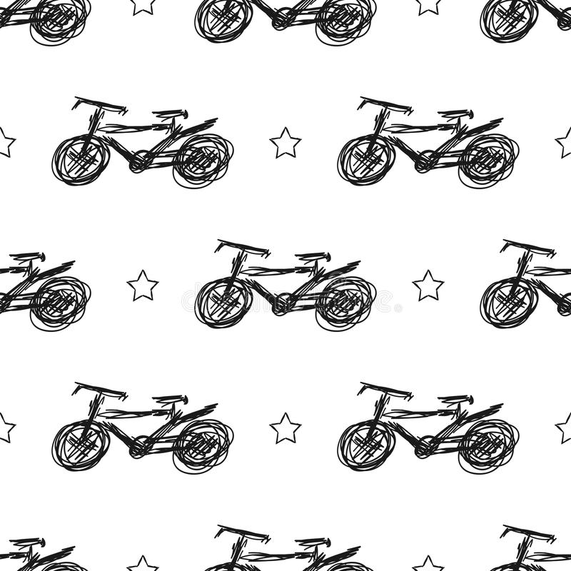 Bicycles and stars drawn by hand. Fashionable seamless pattern. vector illustration