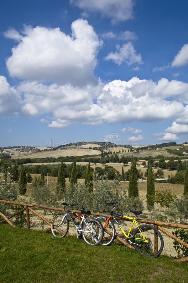 Bicycles on Tuscan hills royalty free stock images