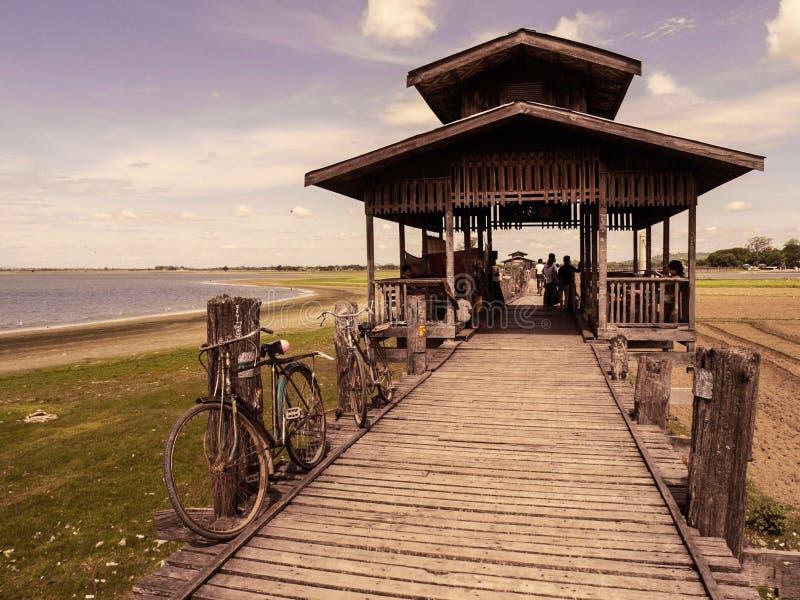 Bicycles at Ubein Bridge. Taken at Ubein Bridge Mandalay Myanmar stock image