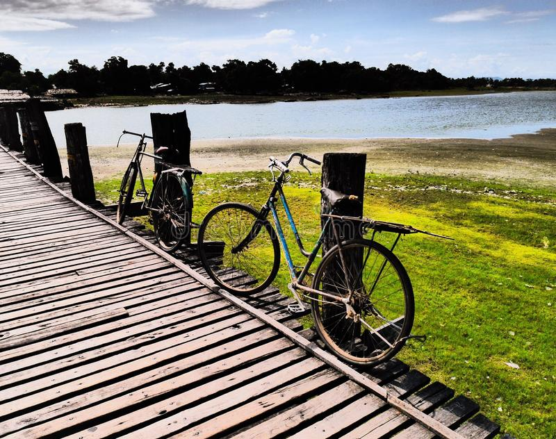 Bicycles at Ubein Bridge. Taken at Ubein Bridge Mandalay Myanmar stock photos