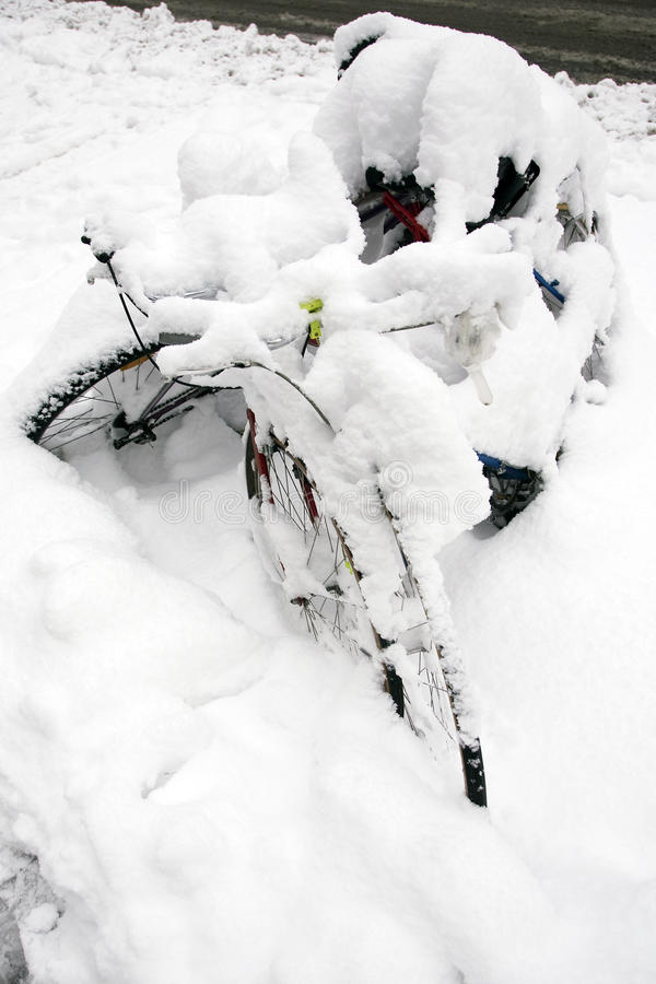 Bicycles Under Snow Royalty Free Stock Photography