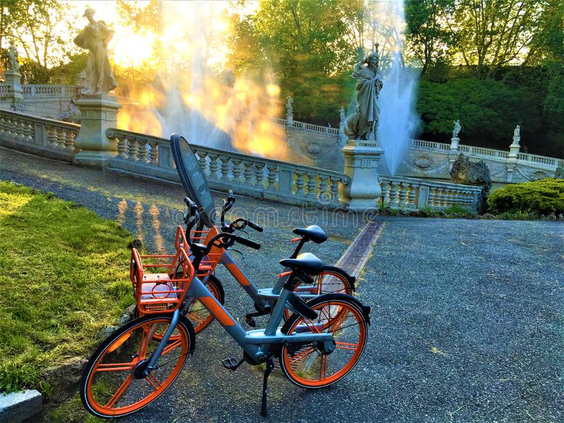 Bicycles, Valentine Park and healthy life in Turin city, Italy. Ray of light, evanescence, luminescence, sports, enjoy and discover the beauty of the city royalty free stock photography