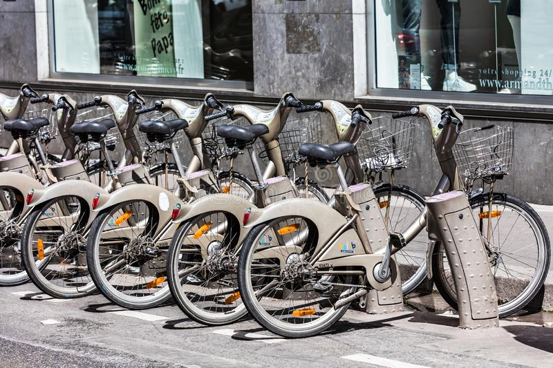 Bicycles of the Velib bike rental service. Paris, France stock photo