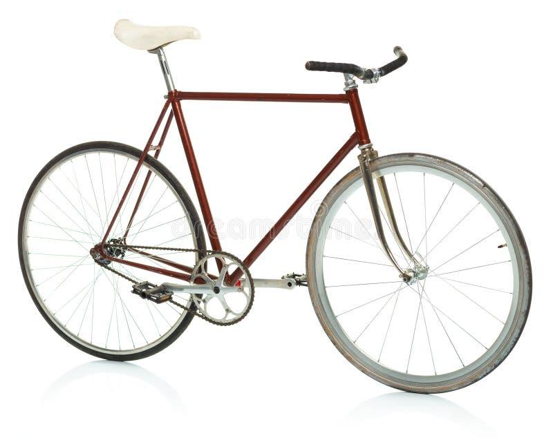 Bicyclette élégante de hippie - vitesse fixe d'isolement sur le blanc photo stock