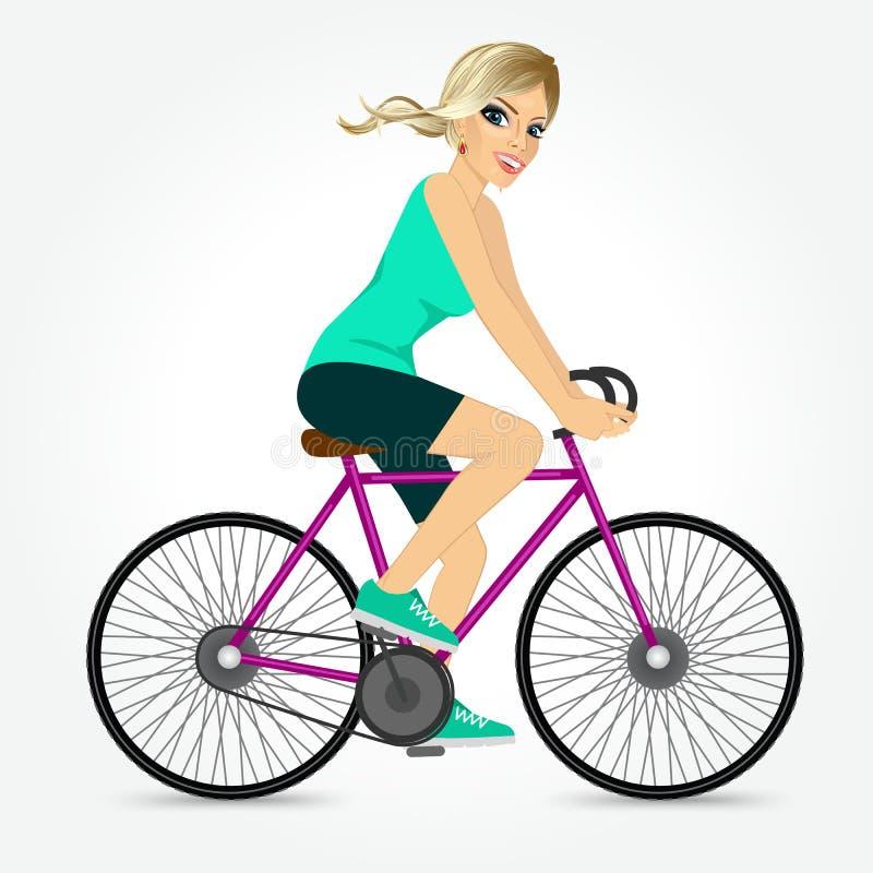 Bicyclette amicale d'équitation de jeune fille heureuse illustration libre de droits
