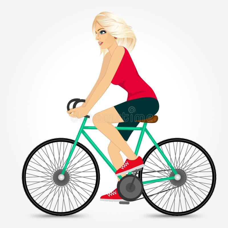 Bicyclette amicale d'équitation de jeune fille heureuse illustration stock