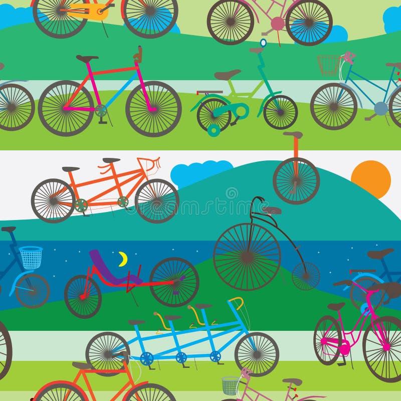 Bicyclette augmentant le modèle sans couture illustration libre de droits