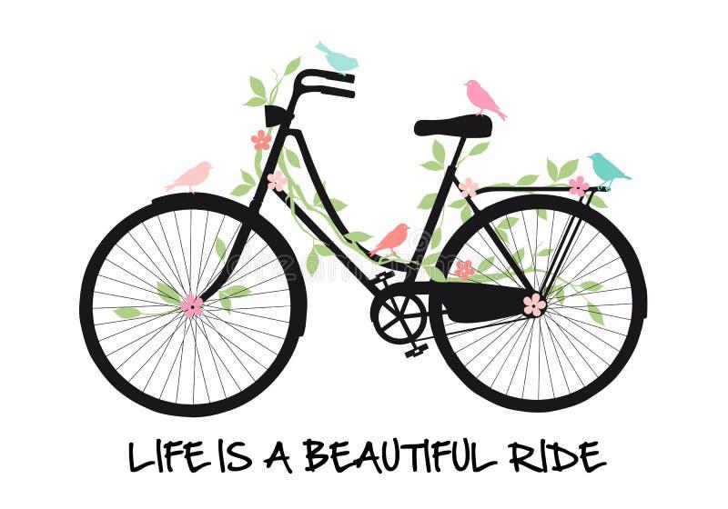 Bicyclette avec des oiseaux et des fleurs, vecteur illustration libre de droits