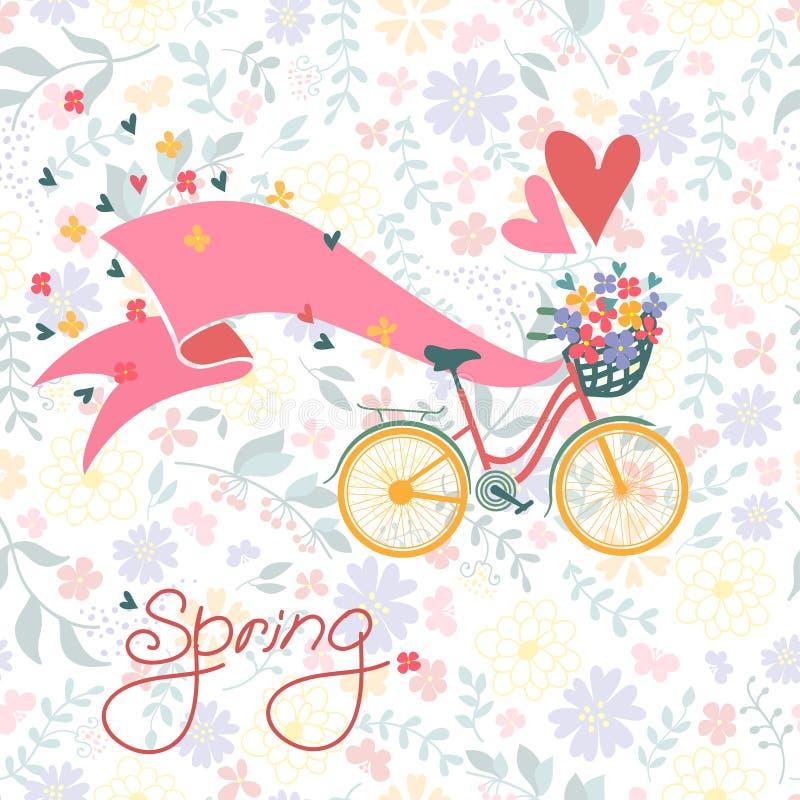 Bicyclette avec un panier plein des fleurs. illustration stock