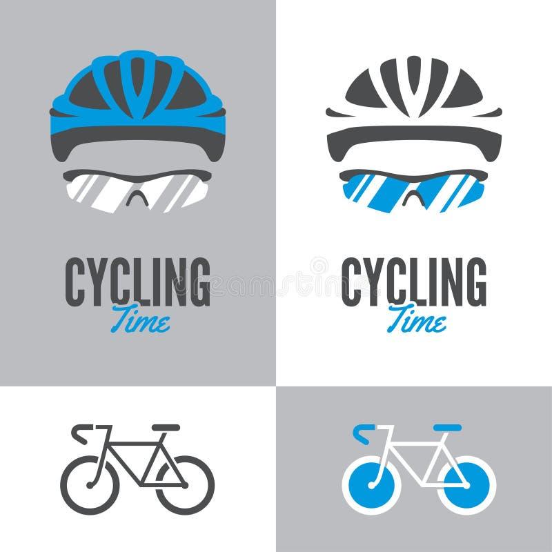 Bicyclette, casque de recyclage et verres illustration de vecteur