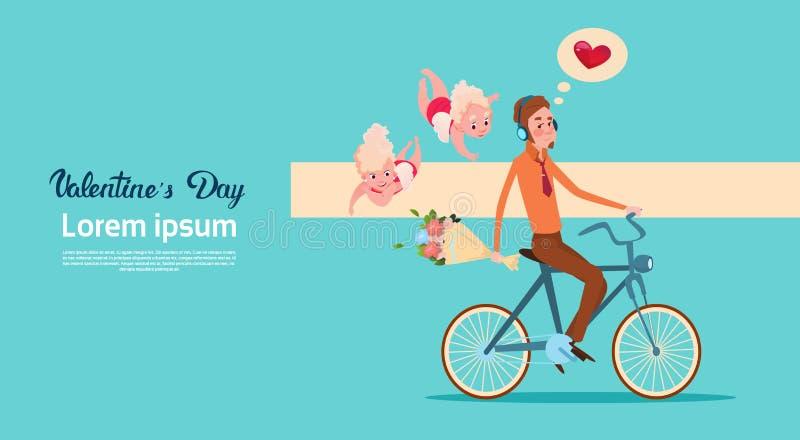 Bicyclette d'équitation d'homme de cupidon d'amour de Valentine Day Gift Card Holiday avec des fleurs illustration de vecteur