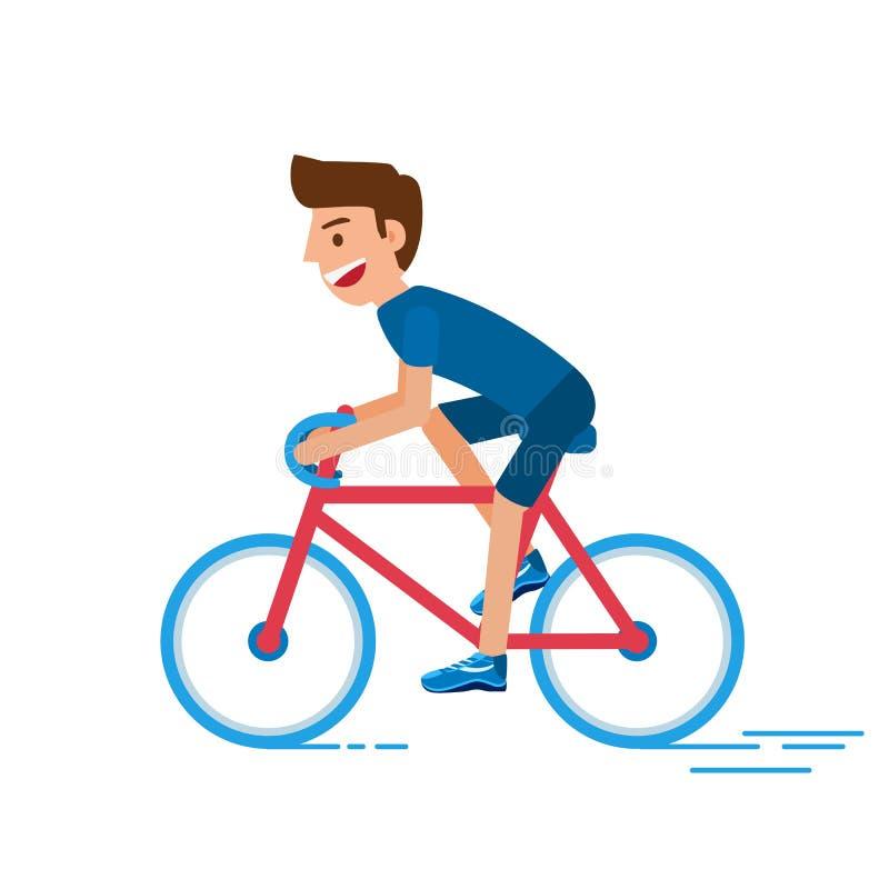 Download Bicyclette D'équitation D'homme Homme De Cycliste Mode De Vie Sain Avec La Bicyclette Style Plat De Conception De Caractère Illustration de Vecteur - Illustration du moderne, exercice: 77160115