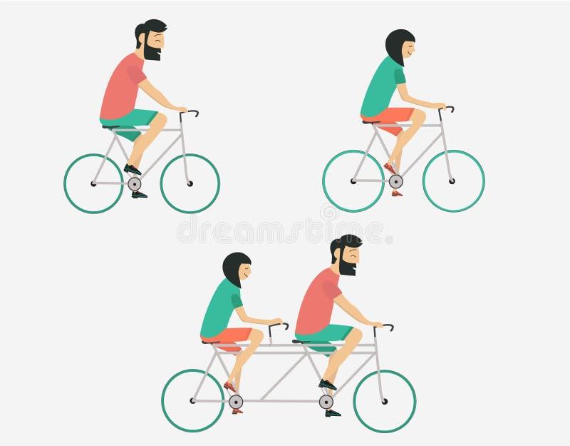 Bicyclette d'équitation de couples Style de hippie photos stock