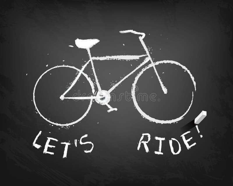 Bicyclette de craie avec le texte : montons ! illustration de vecteur