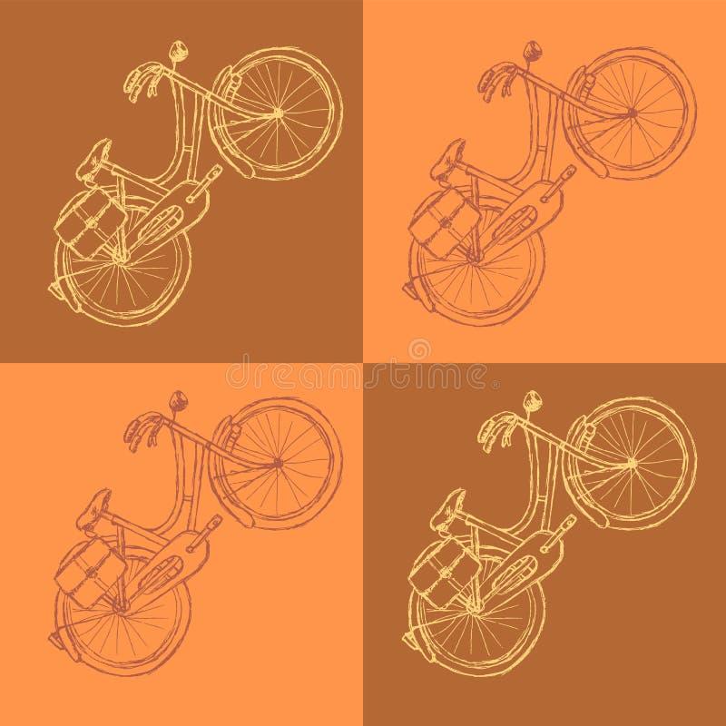 Bicyclette de croquis, fond de vintage de vecteur illustration stock