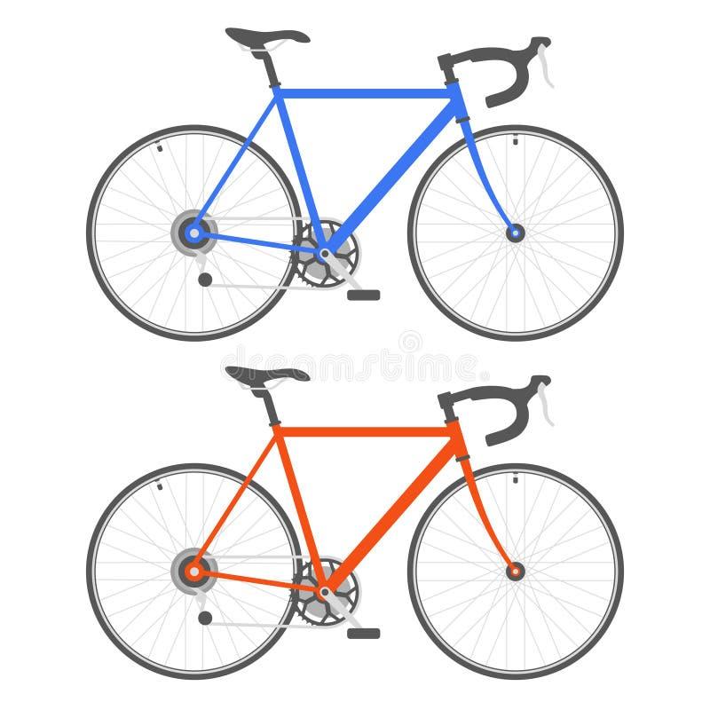 Bicyclette de deux couleurs sur le fond blanc Vecteur illustration stock