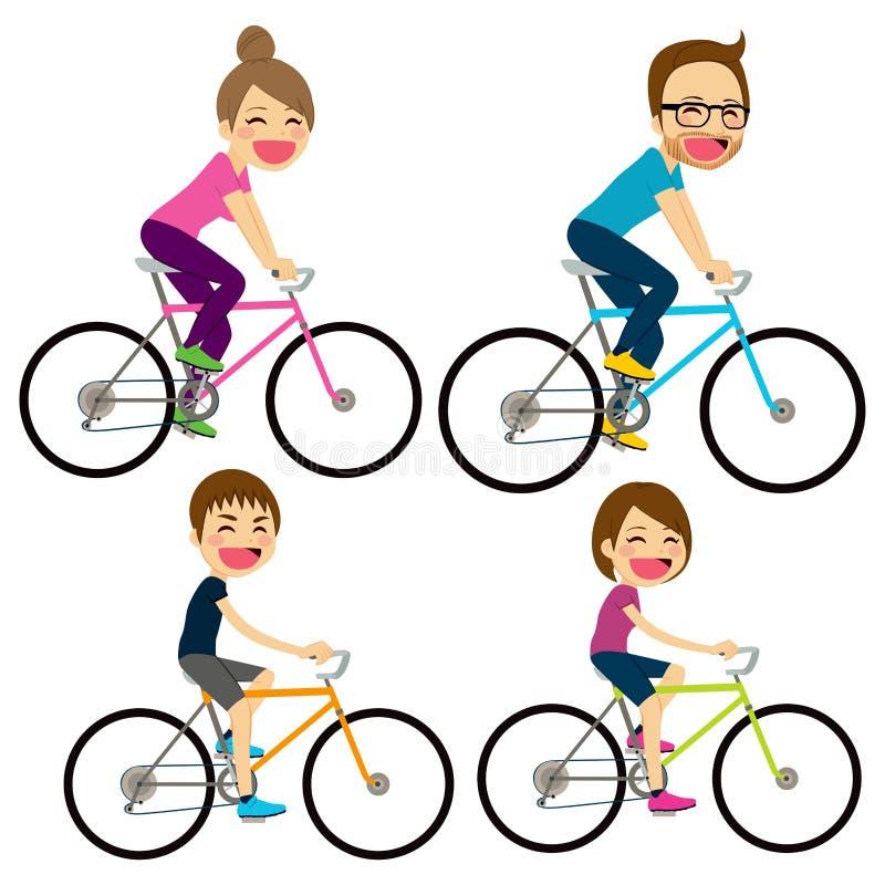 Bicyclette de famille heureuse illustration de vecteur