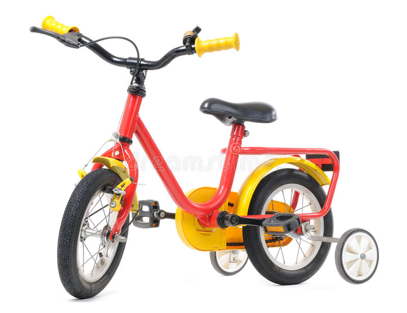 Bicyclette de gosses d'isolement images libres de droits