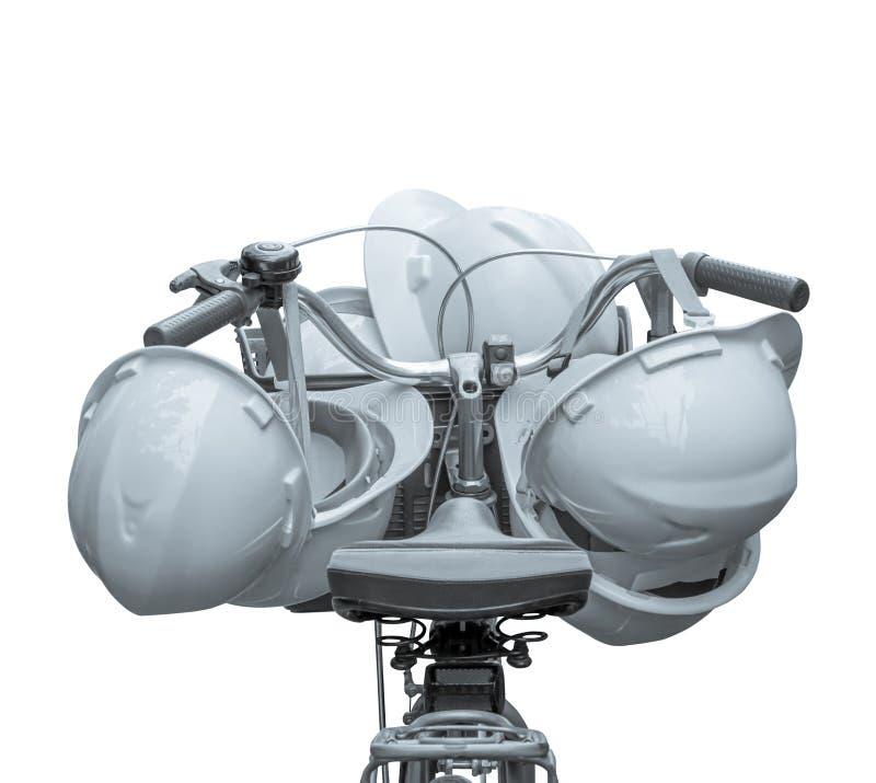 bicyclette de poignée de cintre de constructeur de casque sur le fond blanc Ton de sélénium de cru photographie stock