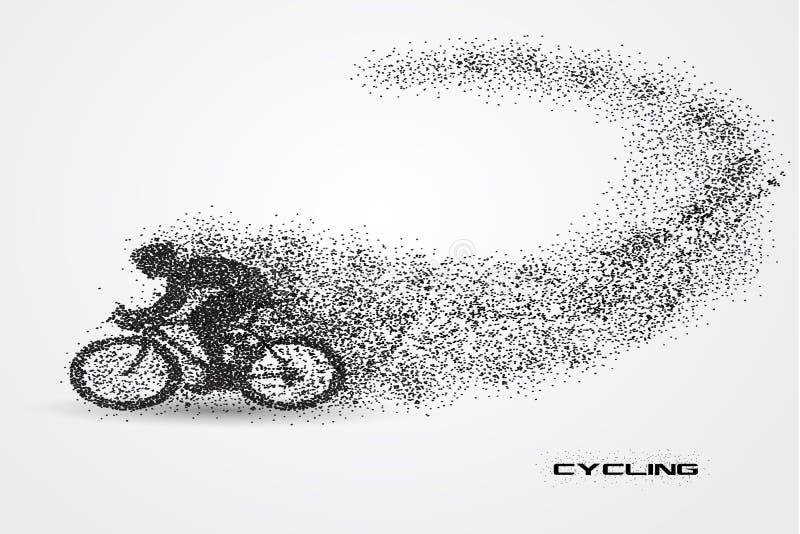 Bicyclette de recyclage d'une silhouette de particule illustration de vecteur