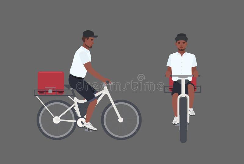Bicyclette de sourire d'équitation de livreur Cycliste masculin livrant le colis Garçon de messager dans le vélo moderne de pédal illustration libre de droits