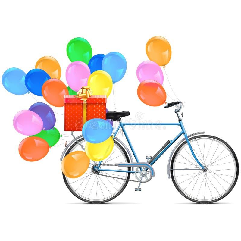 Bicyclette de vecteur avec des ballons illustration de vecteur