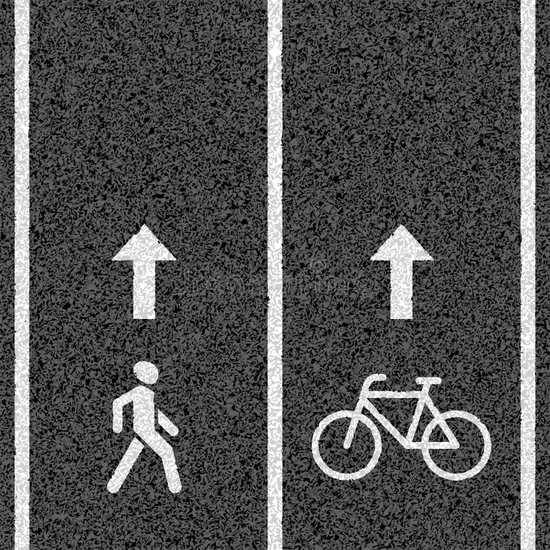 Bicyclette et chemins piétonniers illustration stock