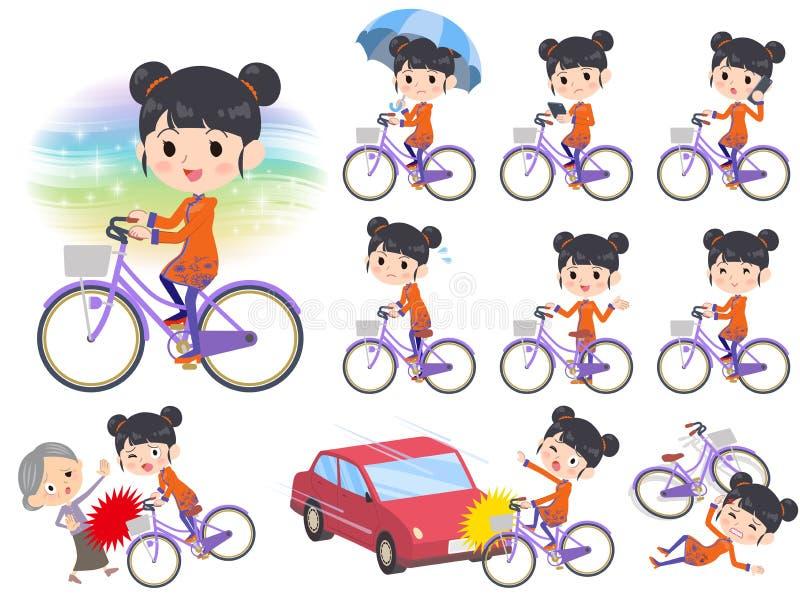 Bicyclette ethnique chinoise de ville de femme d'habillement illustration stock