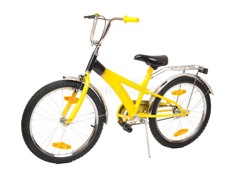 Bicyclette jaune d'isolement image stock