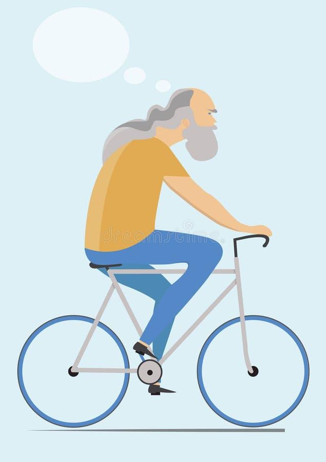 Bicyclette mûre d'équitation d'homme photographie stock libre de droits